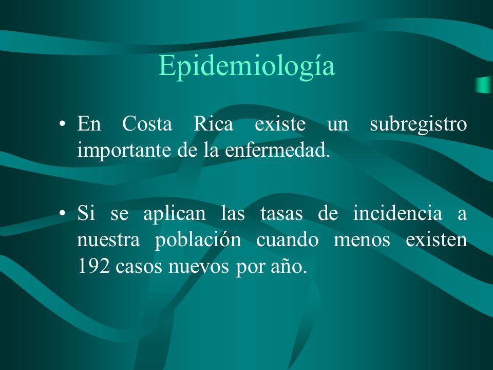 EpidemiologíaEn Costa Rica existe un subregistro importante de la enfermedad.