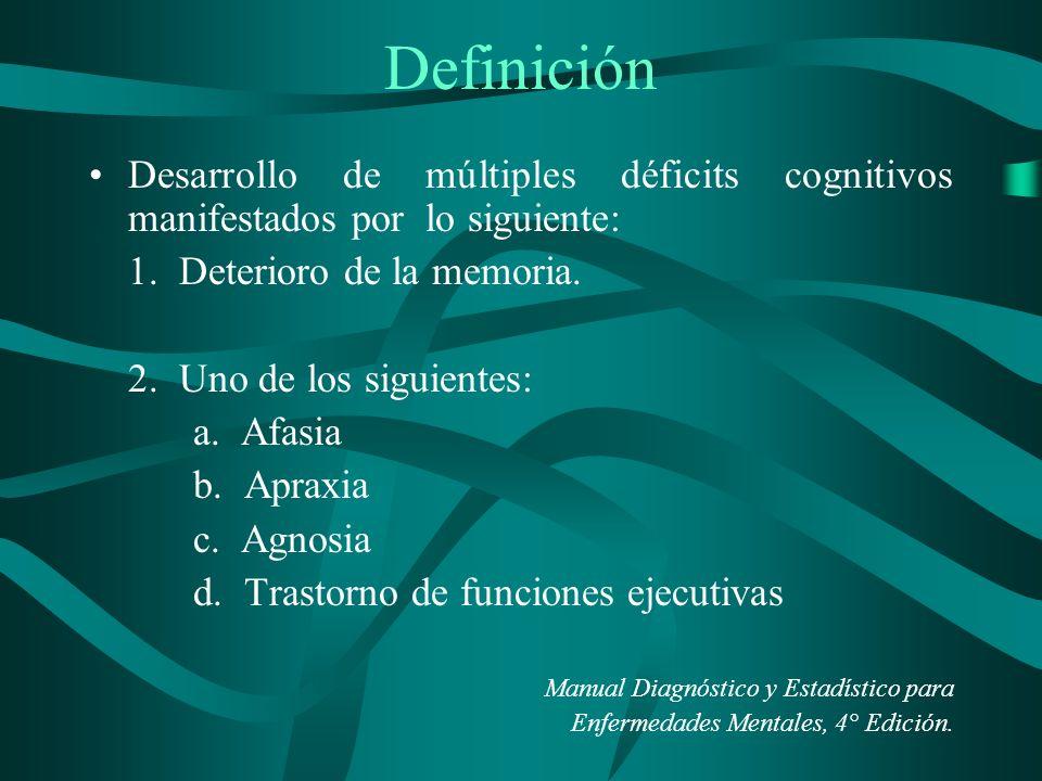 Definición Desarrollo de múltiples déficits cognitivos manifestados por lo siguiente: 1. Deterioro de la memoria.