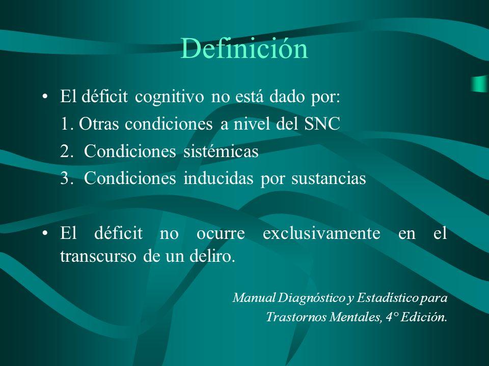 Definición El déficit cognitivo no está dado por: