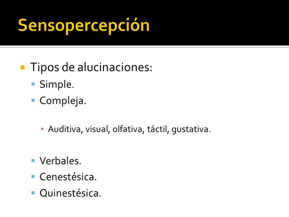 Sensopercepción Tipos de alucinaciones: Simple. Compleja. Verbales.