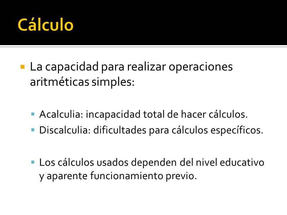 Cálculo La capacidad para realizar operaciones aritméticas simples: