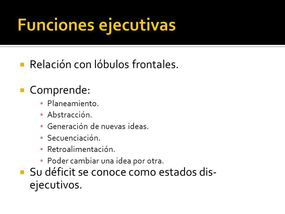 Funciones ejecutivas Relación con lóbulos frontales. Comprende: