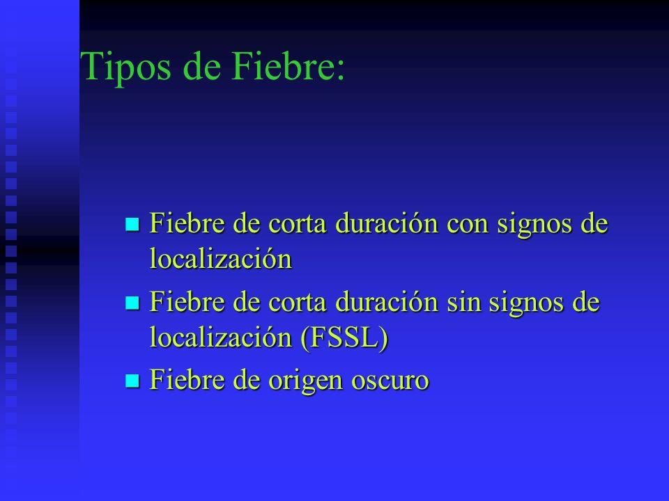 Tipos de Fiebre: Fiebre de corta duración con signos de localización