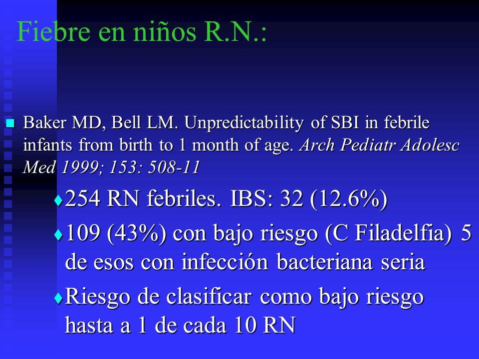 Fiebre en niños R.N.: 254 RN febriles. IBS: 32 (12.6%)