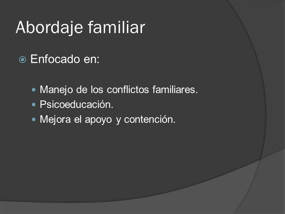 Abordaje familiar Enfocado en: Manejo de los conflictos familiares.