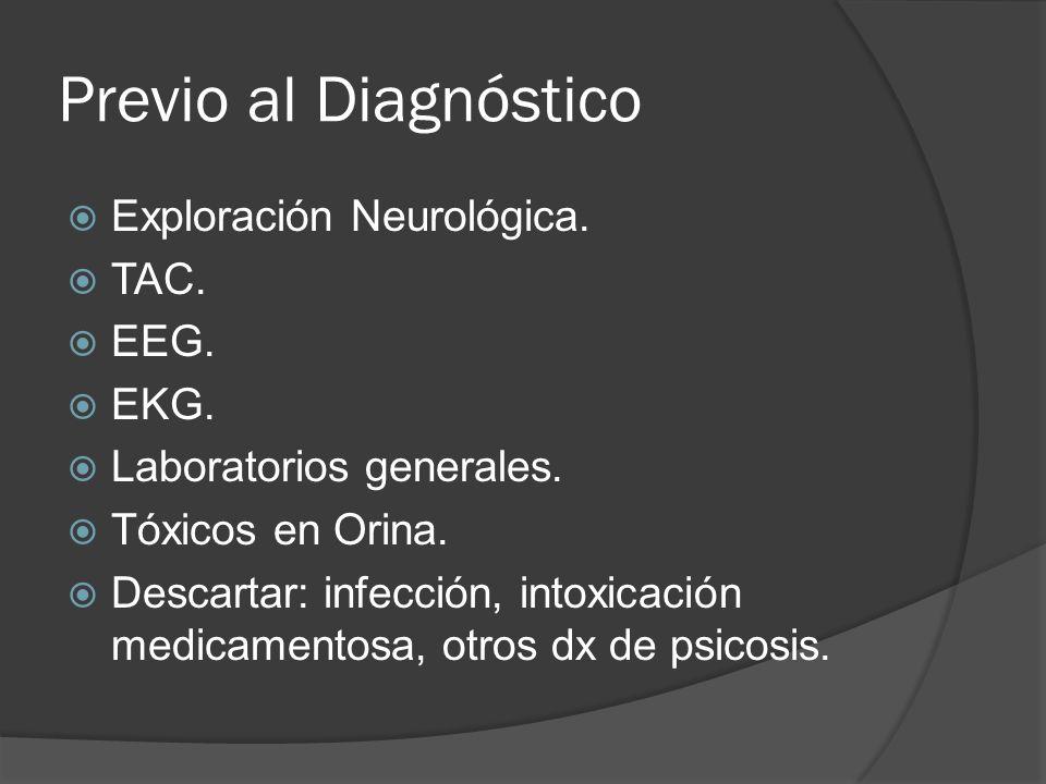 Previo al Diagnóstico Exploración Neurológica. TAC. EEG. EKG.