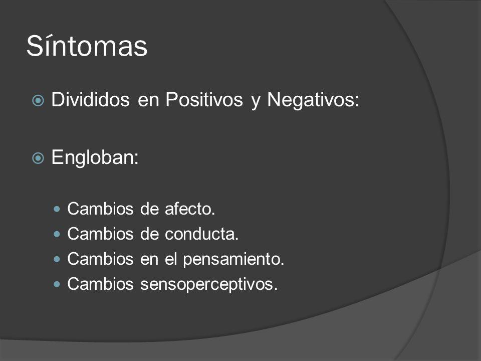 Síntomas Divididos en Positivos y Negativos: Engloban: