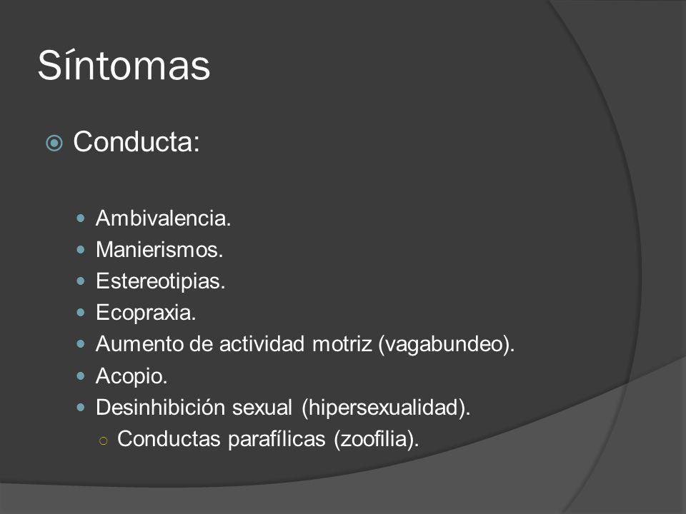 Síntomas Conducta: Ambivalencia. Manierismos. Estereotipias.