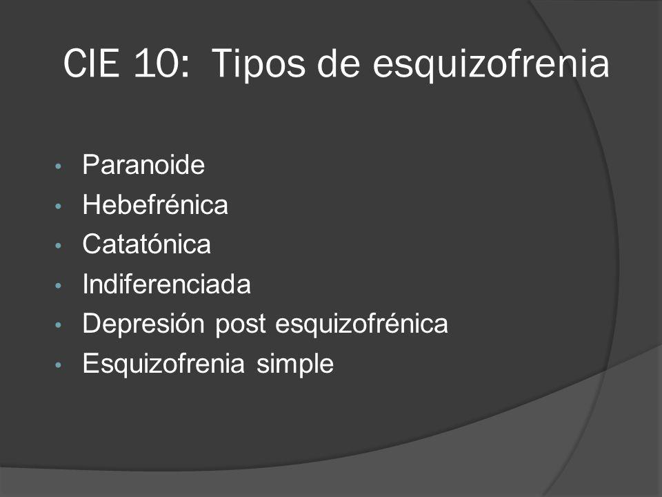 CIE 10: Tipos de esquizofrenia