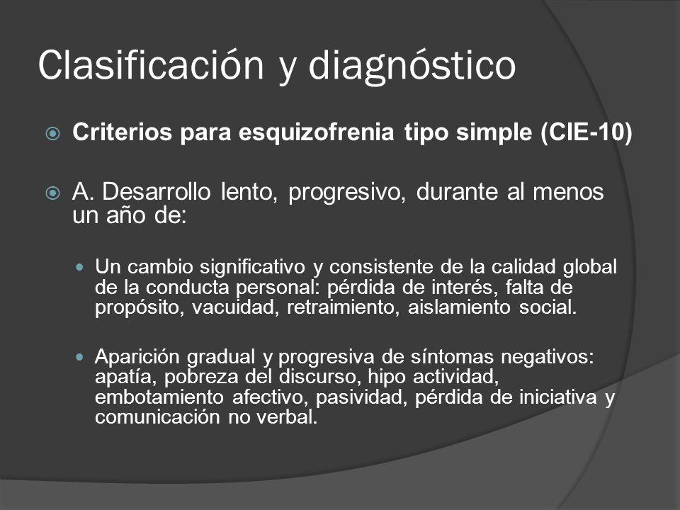 Clasificación y diagnóstico