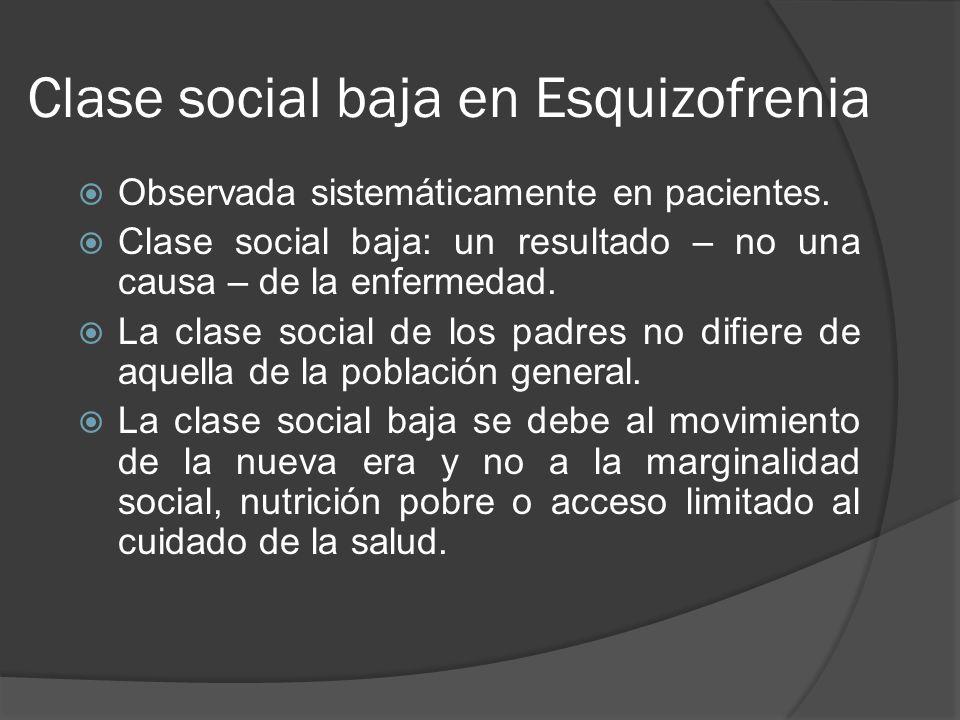 Clase social baja en Esquizofrenia