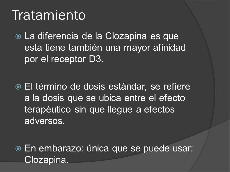 Tratamiento La diferencia de la Clozapina es que esta tiene también una mayor afinidad por el receptor D3.