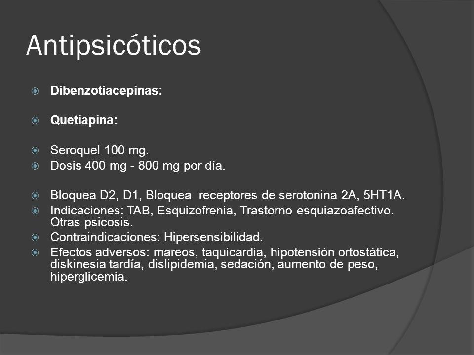 Antipsicóticos Dibenzotiacepinas: Quetiapina: Seroquel 100 mg.