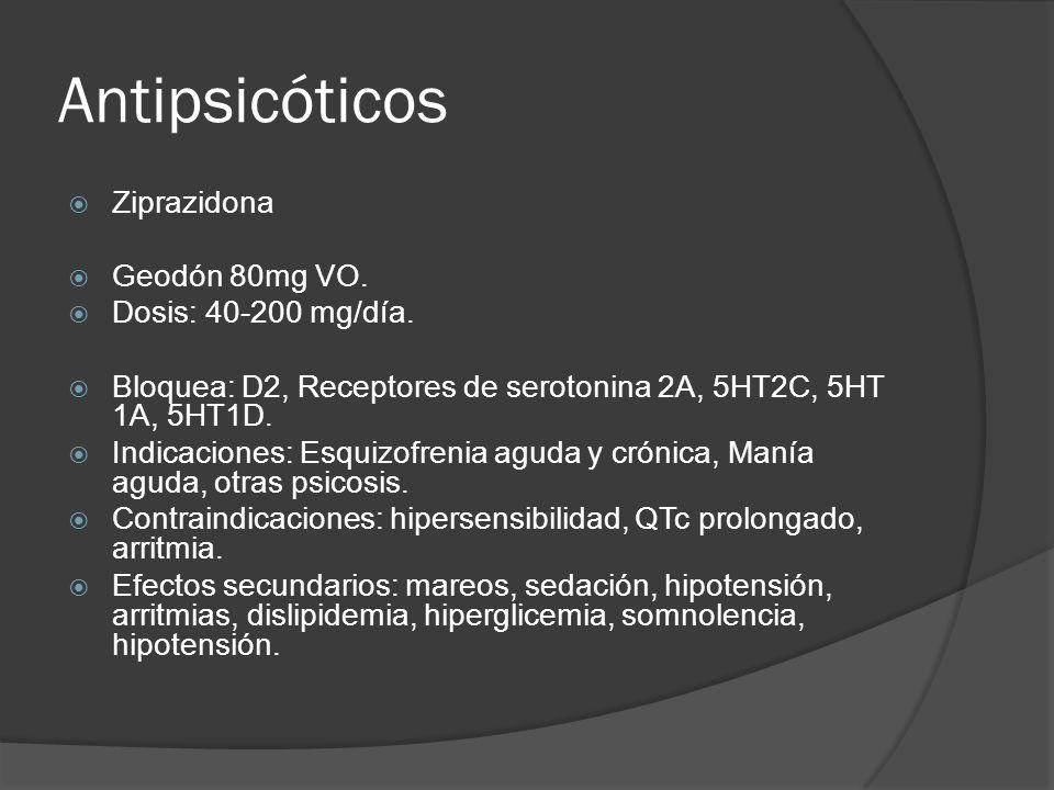 Antipsicóticos Ziprazidona Geodón 80mg VO. Dosis: 40-200 mg/día.
