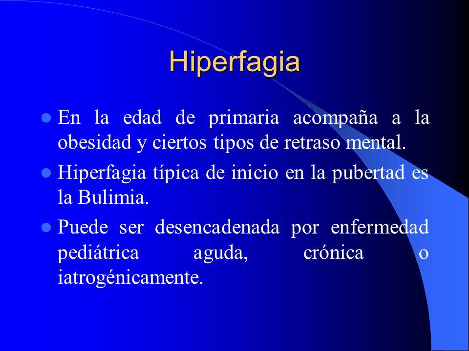 Hiperfagia En la edad de primaria acompaña a la obesidad y ciertos tipos de retraso mental.