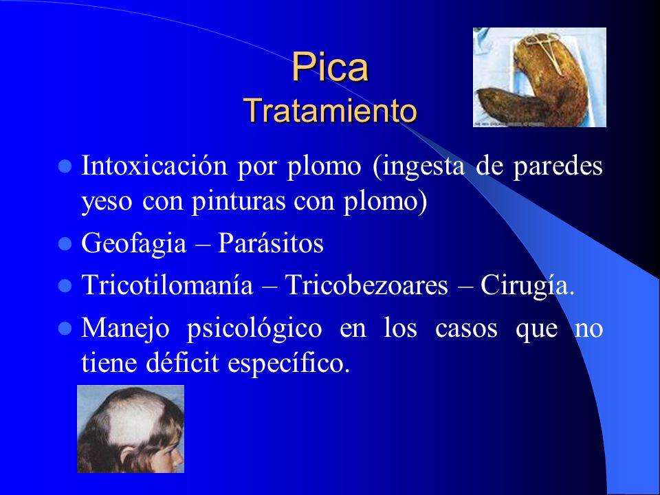 Pica Tratamiento Intoxicación por plomo (ingesta de paredes yeso con pinturas con plomo) Geofagia – Parásitos.