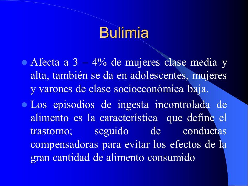 Bulimia Afecta a 3 – 4% de mujeres clase media y alta, también se da en adolescentes, mujeres y varones de clase socioeconómica baja.