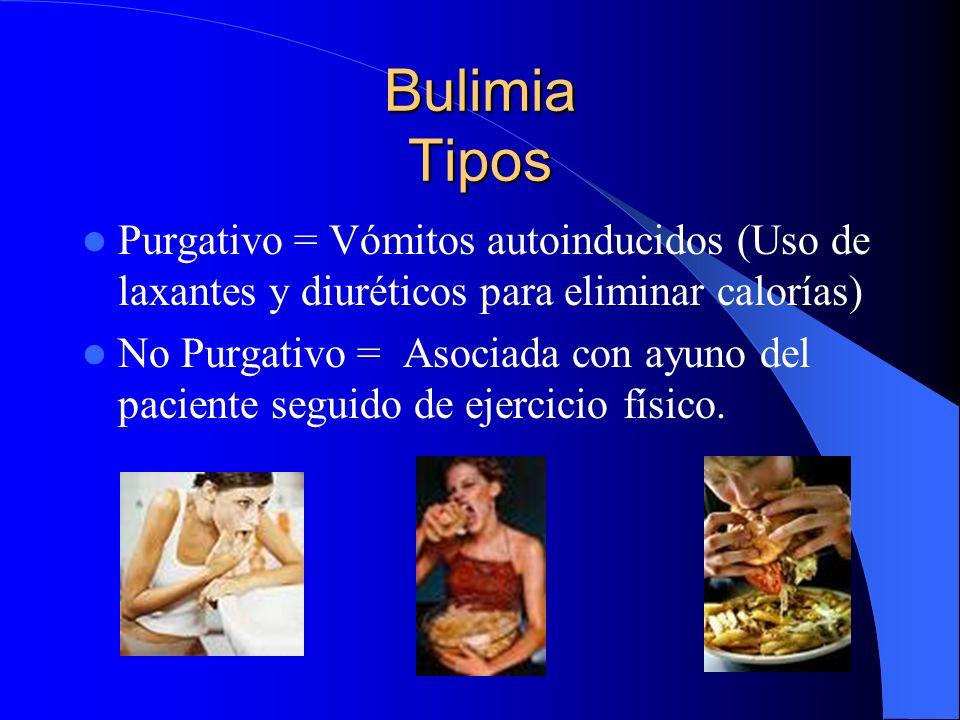 Bulimia Tipos Purgativo = Vómitos autoinducidos (Uso de laxantes y diuréticos para eliminar calorías)