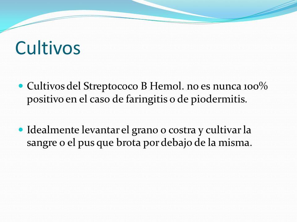 Cultivos Cultivos del Streptococo B Hemol. no es nunca 100% positivo en el caso de faringitis o de piodermitis.