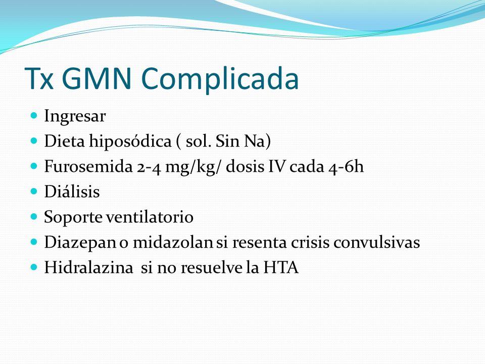 Tx GMN Complicada Ingresar Dieta hiposódica ( sol. Sin Na)
