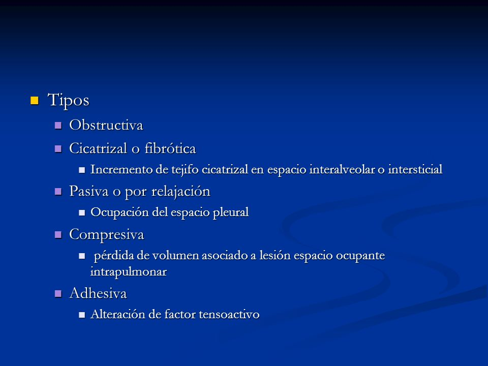 Tipos Obstructiva Cicatrizal o fibrótica Pasiva o por relajación
