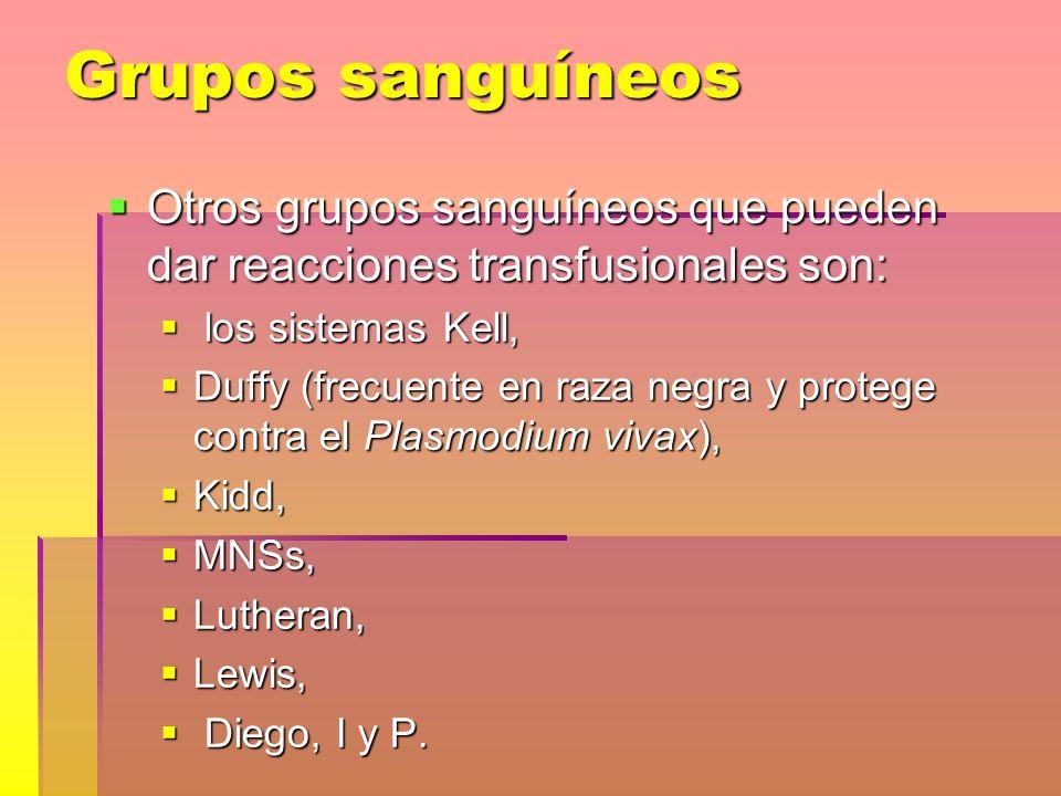 Grupos sanguíneos Otros grupos sanguíneos que pueden dar reacciones transfusionales son: los sistemas Kell,