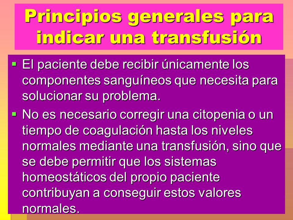 Principios generales para indicar una transfusión