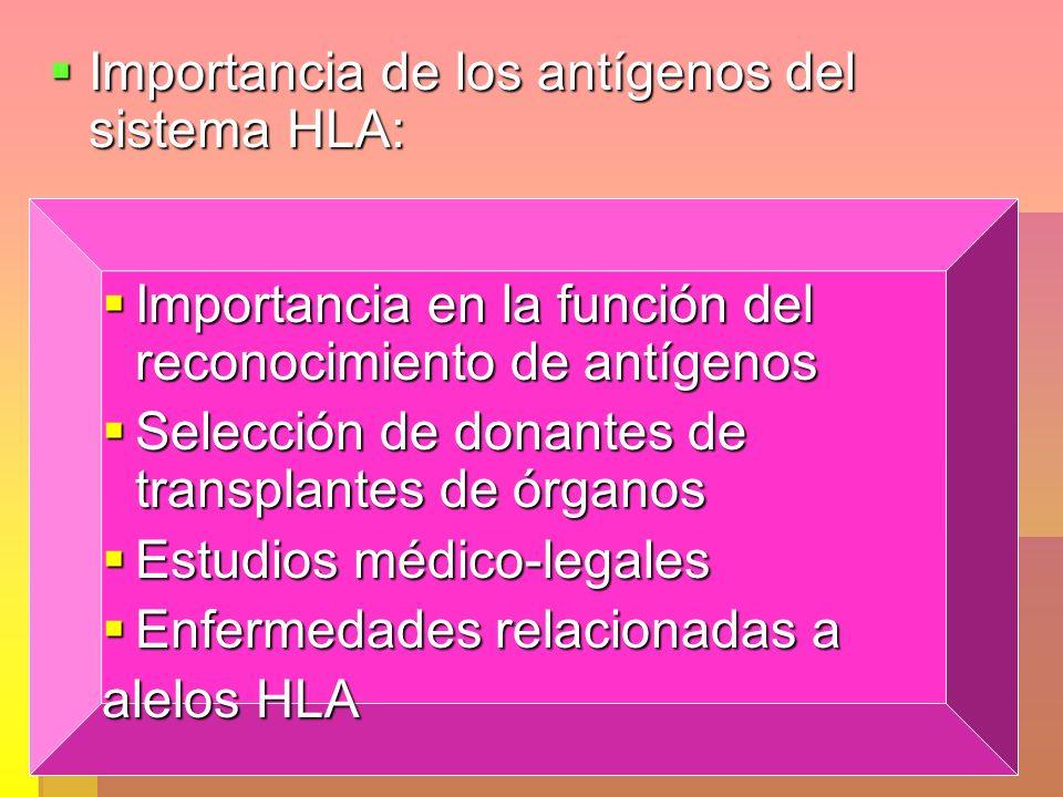 Importancia de los antígenos del sistema HLA: