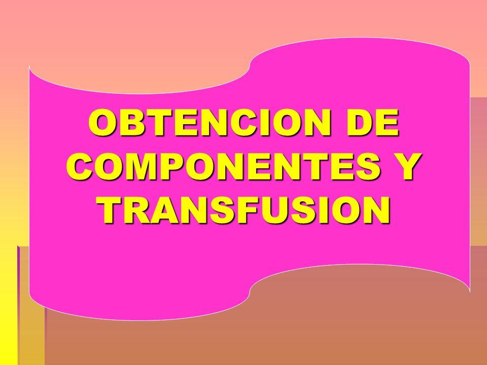OBTENCION DE COMPONENTES Y TRANSFUSION
