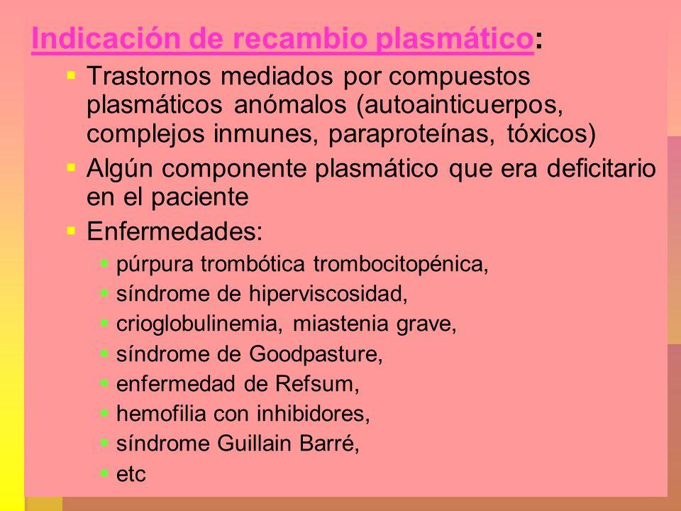 Indicación de recambio plasmático: