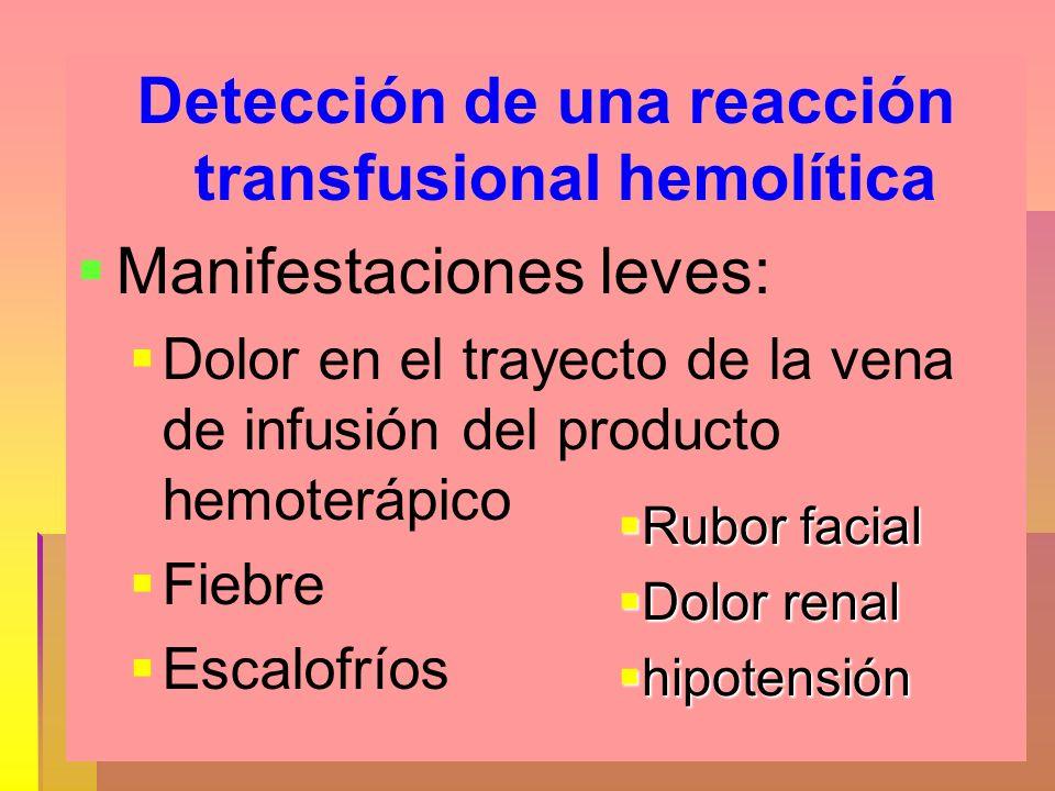 Detección de una reacción transfusional hemolítica