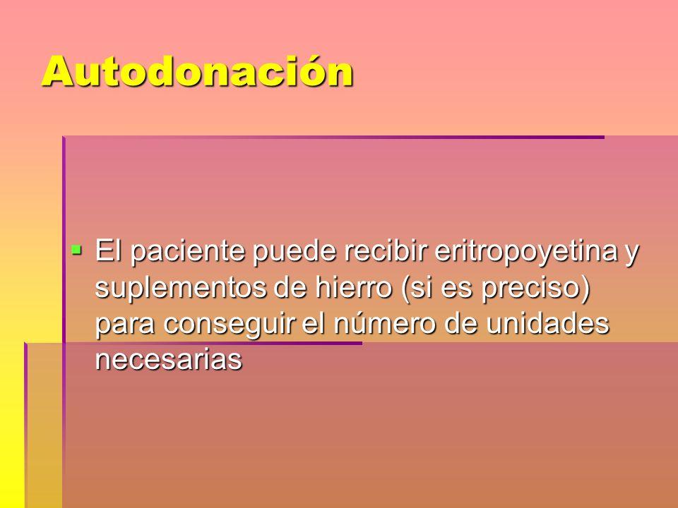Autodonación El paciente puede recibir eritropoyetina y suplementos de hierro (si es preciso) para conseguir el número de unidades necesarias.