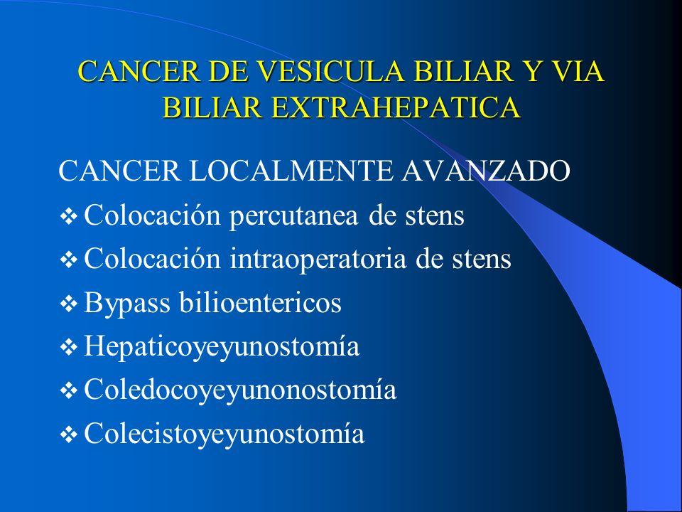 CANCER DE VESICULA BILIAR Y VIA BILIAR EXTRAHEPATICA