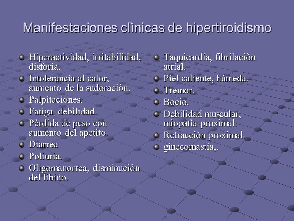 Manifestaciones clìnicas de hipertiroidismo