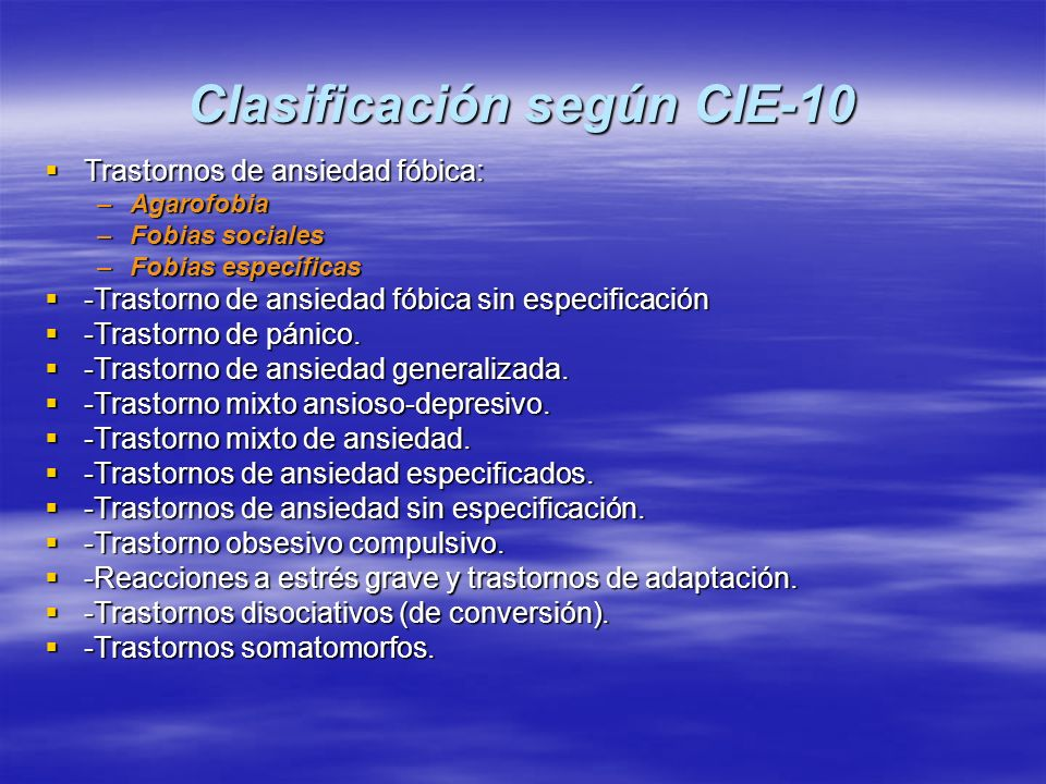 Clasificación según CIE-10