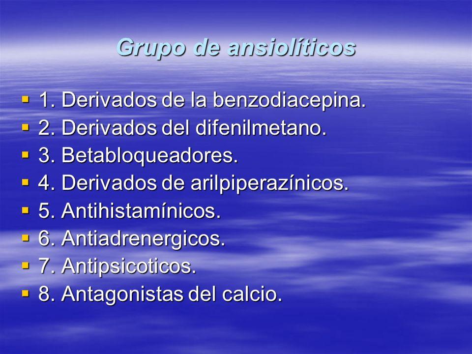 Grupo de ansiolíticos 1. Derivados de la benzodiacepina.