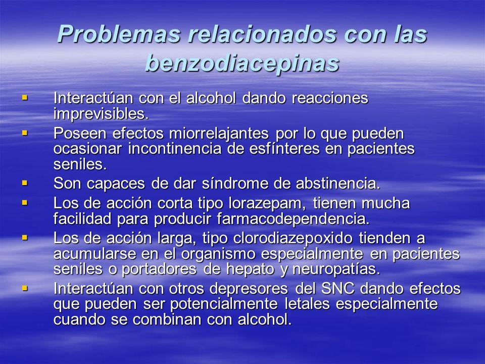 Problemas relacionados con las benzodiacepinas