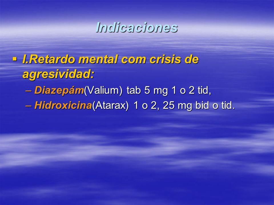 Indicaciones I.Retardo mental com crisis de agresividad: