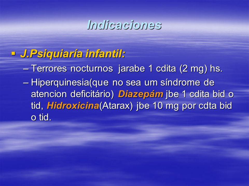 Indicaciones J.Psiquiaría infantil: