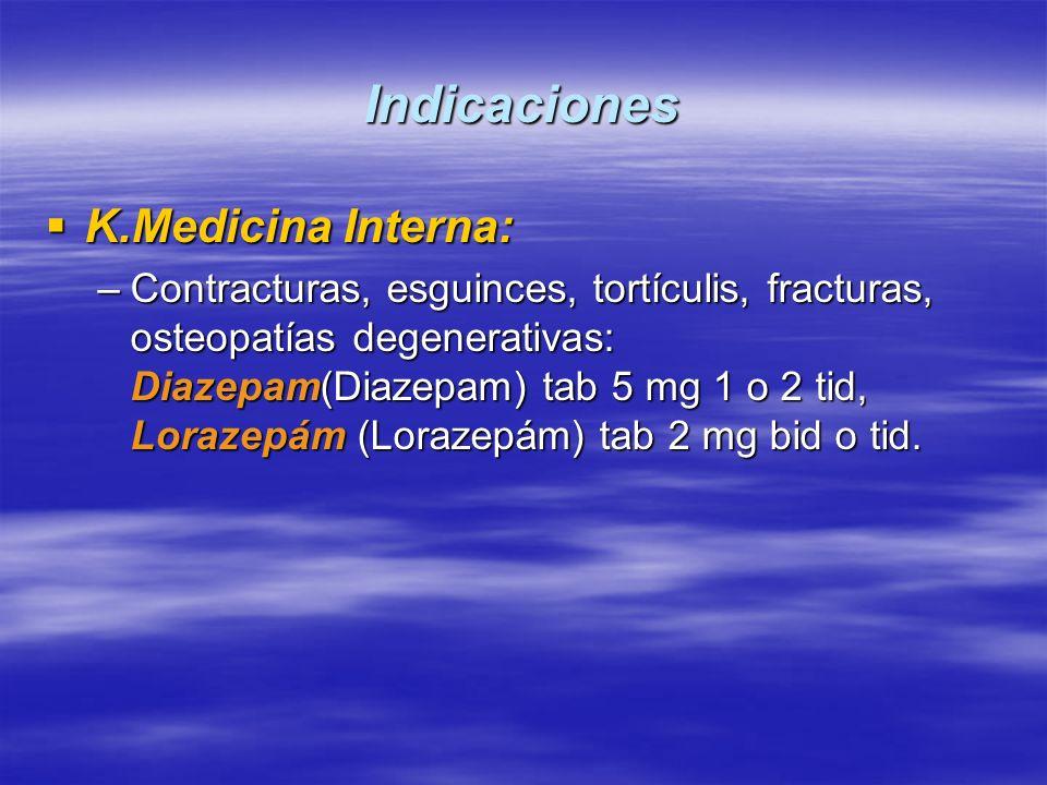 Indicaciones K.Medicina Interna: