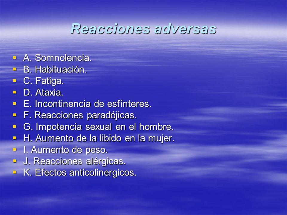 Reacciones adversas A. Somnolencia. B. Habituación. C. Fatiga.