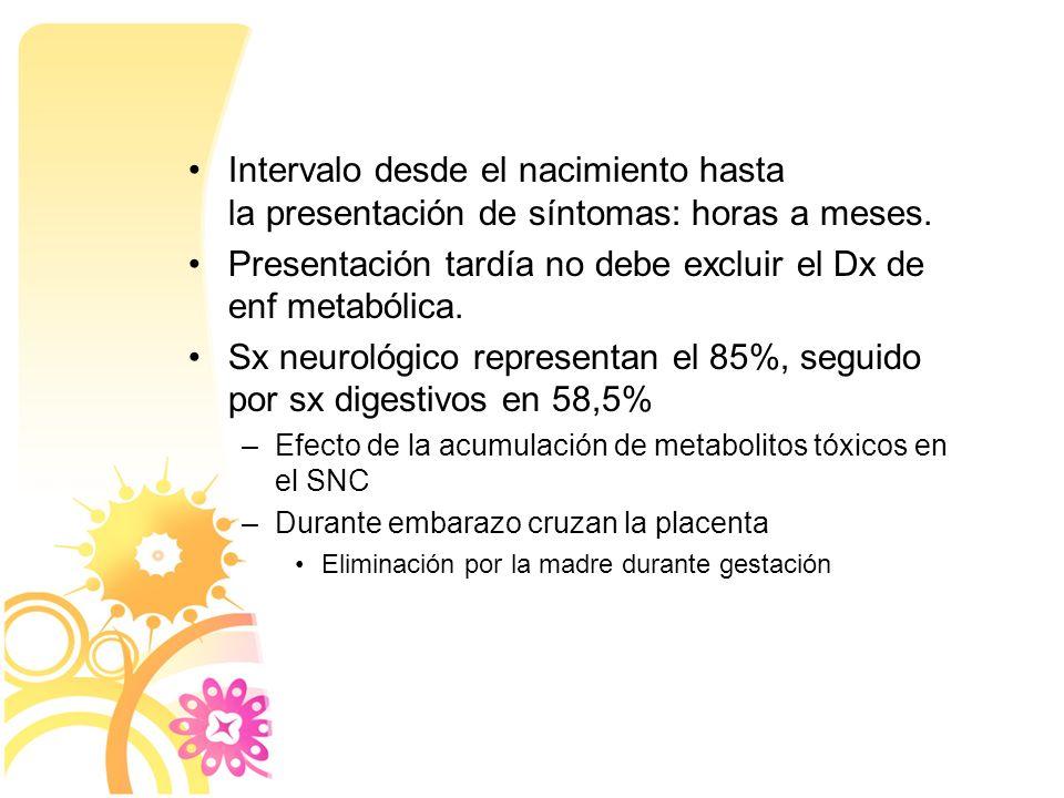 Presentación tardía no debe excluir el Dx de enf metabólica.