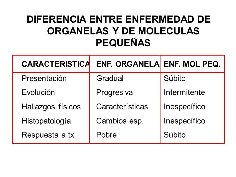 DIFERENCIA ENTRE ENFERMEDAD DE ORGANELAS Y DE MOLECULAS PEQUEÑAS