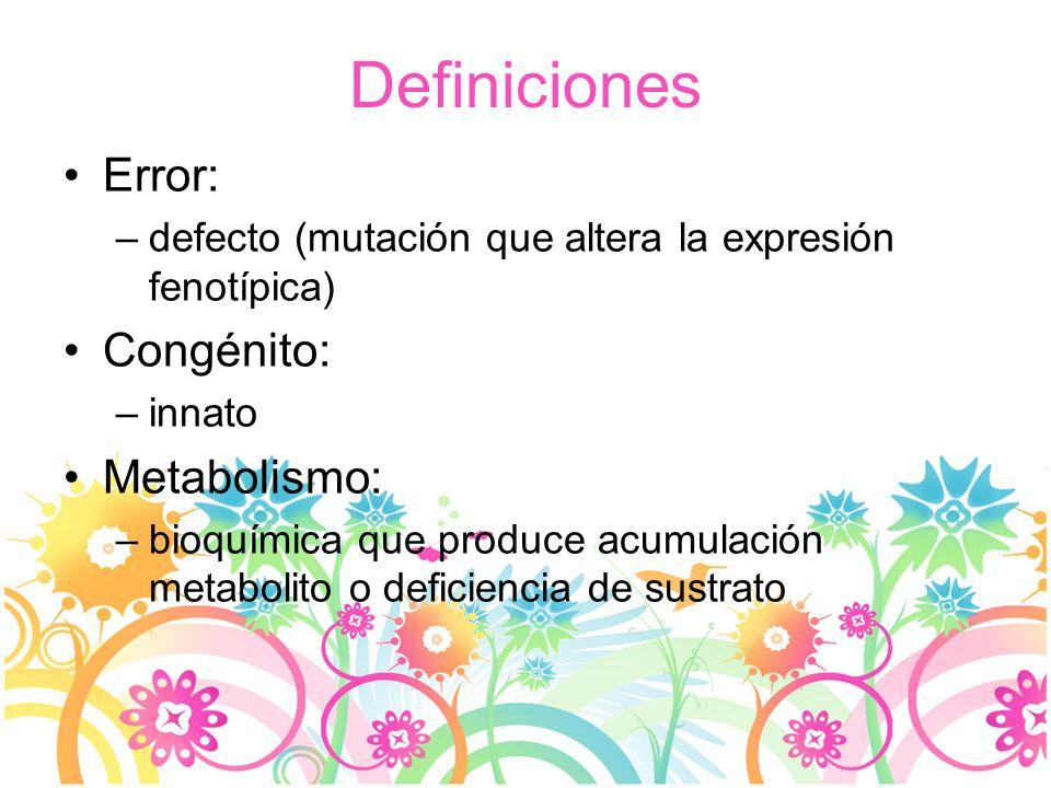Definiciones Error: Congénito: Metabolismo: