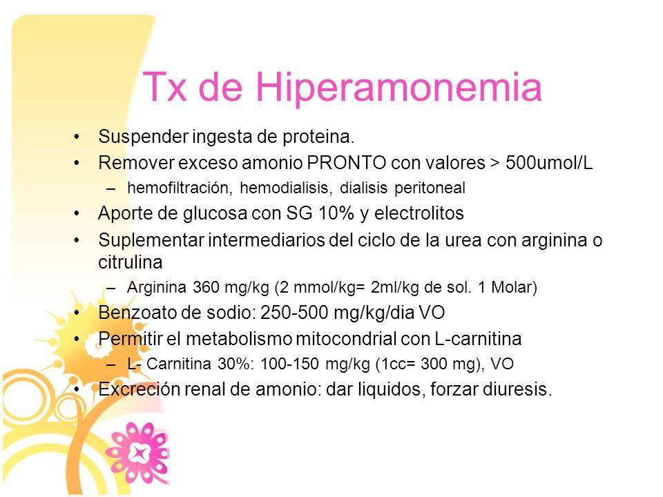 Tx de Hiperamonemia Suspender ingesta de proteina.
