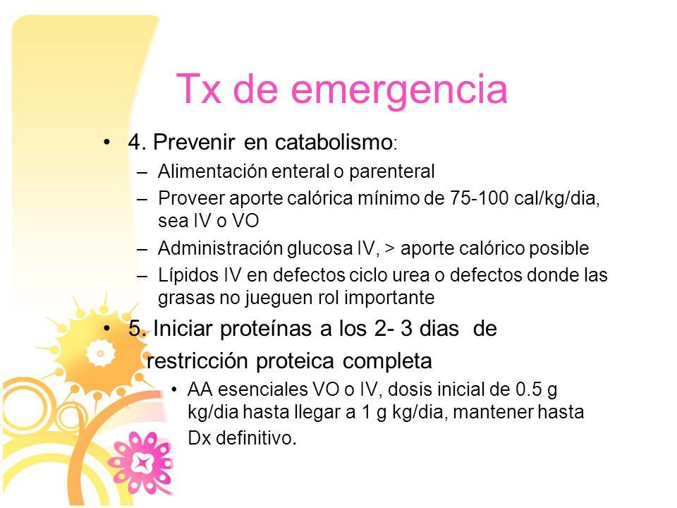 Tx de emergencia 4. Prevenir en catabolismo: