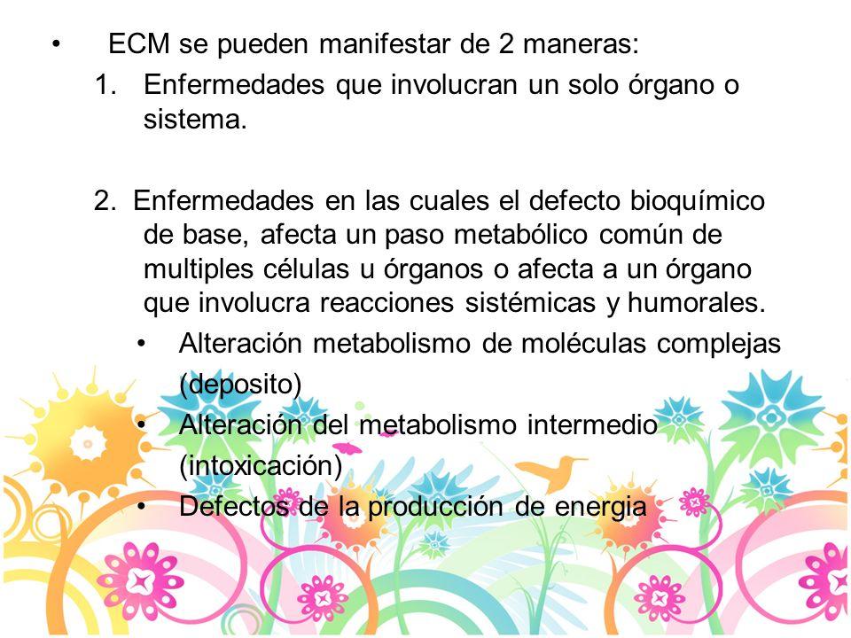 ECM se pueden manifestar de 2 maneras: