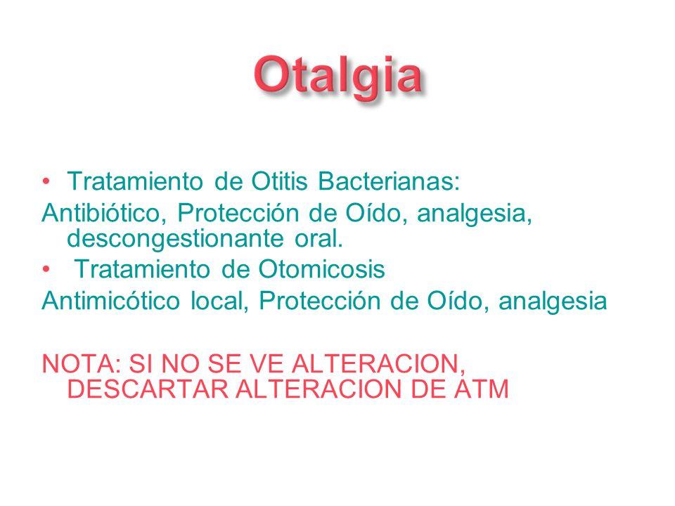 Otalgia Tratamiento de Otitis Bacterianas:
