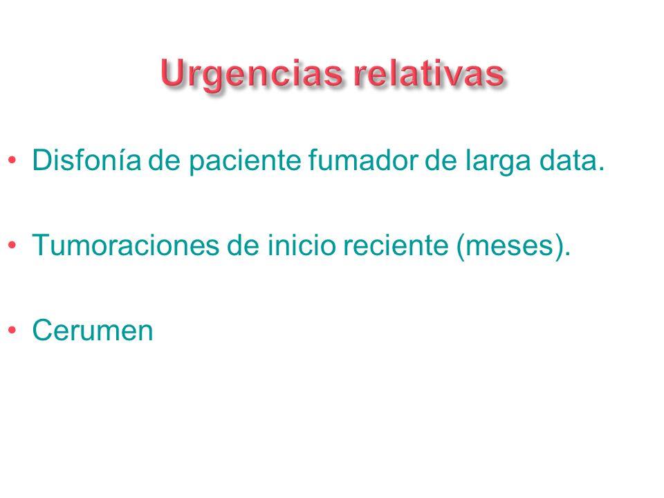 Urgencias relativas Disfonía de paciente fumador de larga data.