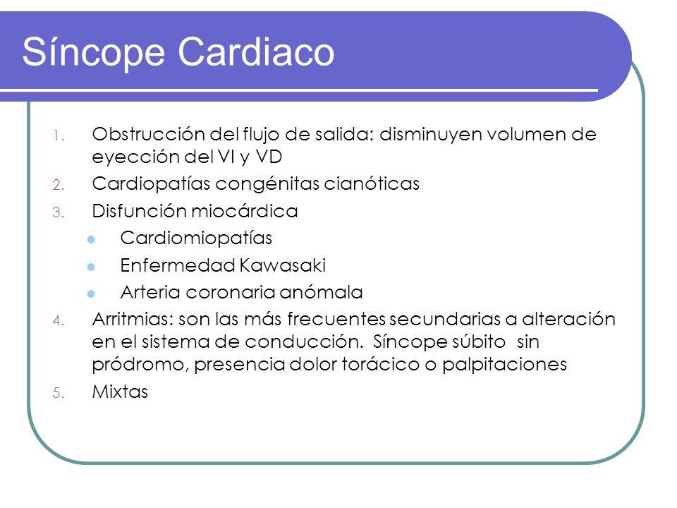 Síncope Cardiaco Obstrucción del flujo de salida: disminuyen volumen de eyección del VI y VD. Cardiopatías congénitas cianóticas.